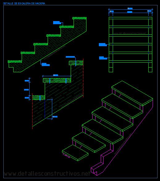 Detalles constructivos en dwg for Calculo escalera metalica