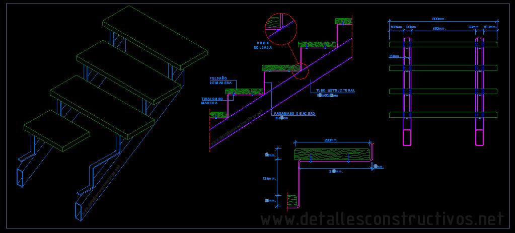 escalera metlica con peldaos de madera