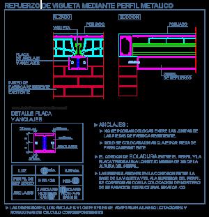 refuerzo_vigueta_viga_metalica_unidireccional_perfil_ cad_dwg_detalle