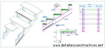 Detalles constructivos en dwg for Escalera metalica en l