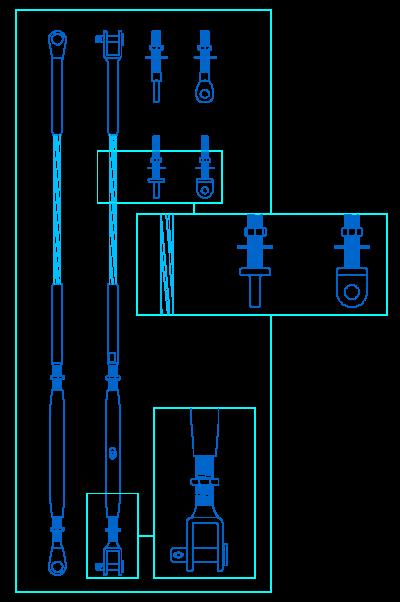 Detalles constructivos en dwg for Tensor cable acero