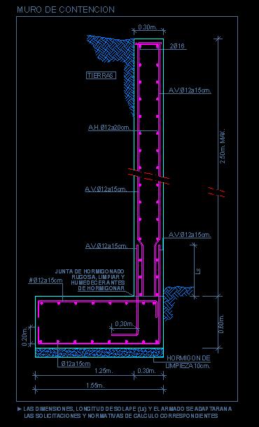 Detalle de muro de contencion de hormig n armado con tal n for Detalle constructivo piscina