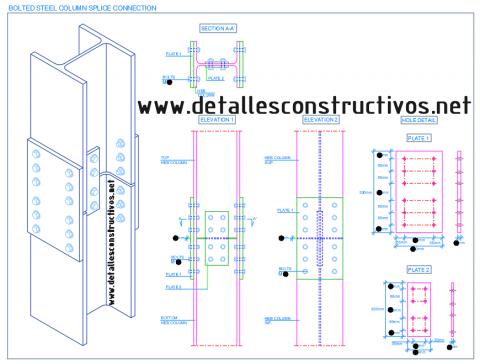Bolted_steel_column_splice_moment_connection_drawing_detail_heb_profile_connection_bolt_cover_plate_hole_joint_aile_ame_du_poteau_boulonne_union_acier_structure
