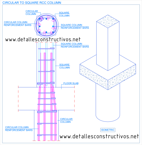 Circular_to_square_RCC_column_transition_detail_Change_cross_section_reinforced_concrete_Dwg _reinforcement_bars_runden_Stahlbeton_Stutze_quadratische_pijler_gewapend_beton_Slupy zelbetowe_armerad_betong_pelare