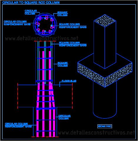 Circular_to_square_RCC_column_transition_detail_Change_cross_section_reinforced_concrete_Dwg _reinforcement_bars_runden_Stahlbeton_Stutze_quadratische_pijler_gewapend_beton_Slupy zelbetowe_armerad_betong_pelare