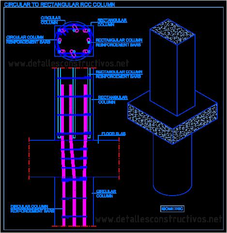 Circular_to_square_rectangular__RCC_column_transition_detail_Change_cross_section_reinforced_concrete_Dwg _reinforcement_bars_runden_Stahlbeton_Stutze_quadratische_pijler_gewapend_beton_Slupy zelbetowe_armerad_pelare
