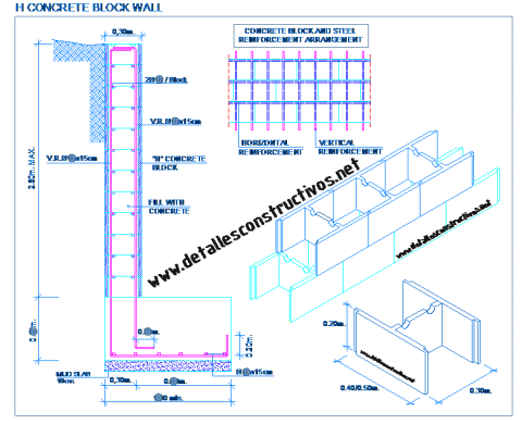 H_block_concrete_wall_retaining_basement_besser_masonry_reinforcement_mesh_footing_hollow_Hohlblockstein_mauer_Mauerwerks_beton_halblock_Holle_blokken_Blok_berongga_design_detail_dwg