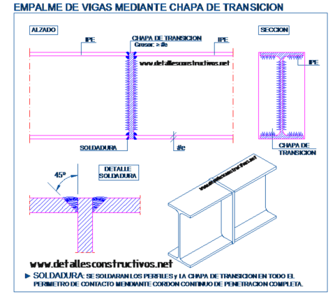 IPE_empalme_union_testa_chapa_soldadura_viga_metalica_laision_poteaux_poutre_metallique_trave_welded_connection_butt_joint_steel_frame_beams_dwg