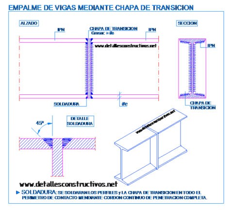 IPN_empalme_union_testa_chapa_soldadura_viga_metalica_laision_poteaux_poutre_metallique_trave_welded_connection_joint_steel_frame_beams_dwg