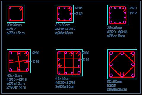 secciones tipo pilares hormigon armado detalles dwg