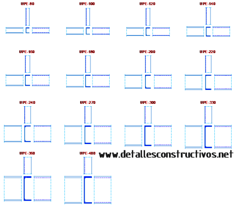 UPE_steel_profiles_sections_european_standard_U_channels_C_parallel_flanges_beams_cad_block_dwg_frames_Stahltrager_Konstruktionsstal_Stahl_Normalprofile_profiel_stalen_Ceownik_walcowany_balk