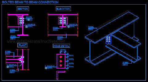 beam_to_bolted_connection_Double_angle_web_cleats_simple_IPE_profile_bolts_steel_frame_Stahlträger_verschrauben_Wellenverbindungen_liaison_poutre_metallique_cornieres_boulons_dwg_conexion_metallstrale
