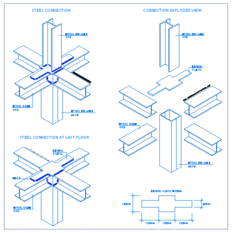 beam_to_column_to_column_connection_steel_frames_structural_drawings