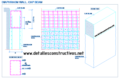 cap_beam_capping_top_reinforced_concrete_diaphragm_wall_slurry_retaining_structural_drawing_deep_foundations_beton_ecrans_poutre_trave_paredes_muro_pantalla