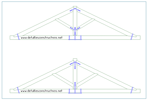 cercha_de_madera_viga_reticulada_trabe_timber_roof_truss_king_post_frames