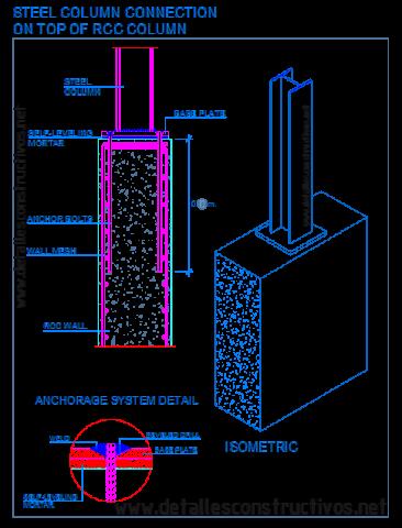 composite_structures_connection_steel_column_reinforced_concrete_retaining_basement_wall_base_plate_anchor_bolts_Stahlstutzen_winkelstutzwand_stalen_kolom_MUR_OPOROWY_beton_stottemur_dwg