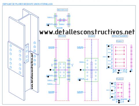 empalme_pilares_columnas_union_tornillos_placa_cubrejuntas_atornillada_perfil_metalica_acero_hbE_estructura_liaison_poutre_profile_metallique_acier_boulonnes_solive_plancher_cornieres_struc