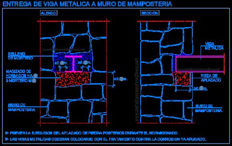muro_piedra_mamposteria_union_apoyo_viga_metalica_stone_wall_masonry_steel_beam