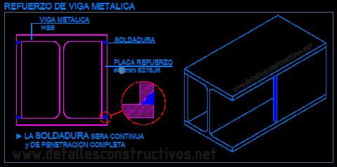 refuerzo_perfil_HEB_pilar_viga_metalica_acero_estructura_soldadura_placa_platabanda_lateral_rehabilitacion_existente_poutre_poute_profile_metallique_acier_structure_renforcement_reforço_chapa_detalle_dwg