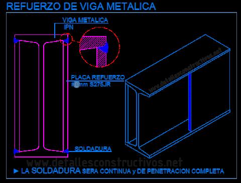 refuerzo_perfil_viga_metalica_acero_estructura_soldadura_placa_platabanda_lateral_rehabilitacion_existente_poutre_profile_metallique_acier_structure_renforcement_reforço_chapa_detalle_dwg