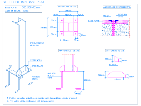 Steel column base plate | detallesconstructivos net