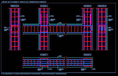 union_vigas_pilares_hormigon_armado_cad_dwg_pilier_poutre_beton_column_conrtete