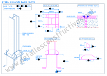 steel_column_base_plate_structural_connection_frame_design_stiffeners_welded_heb_profile_anchor_achorage_detail_draw_boulons_ancrage_soudure_platine_plaque_assie_poteau_metallique_tiges_pied