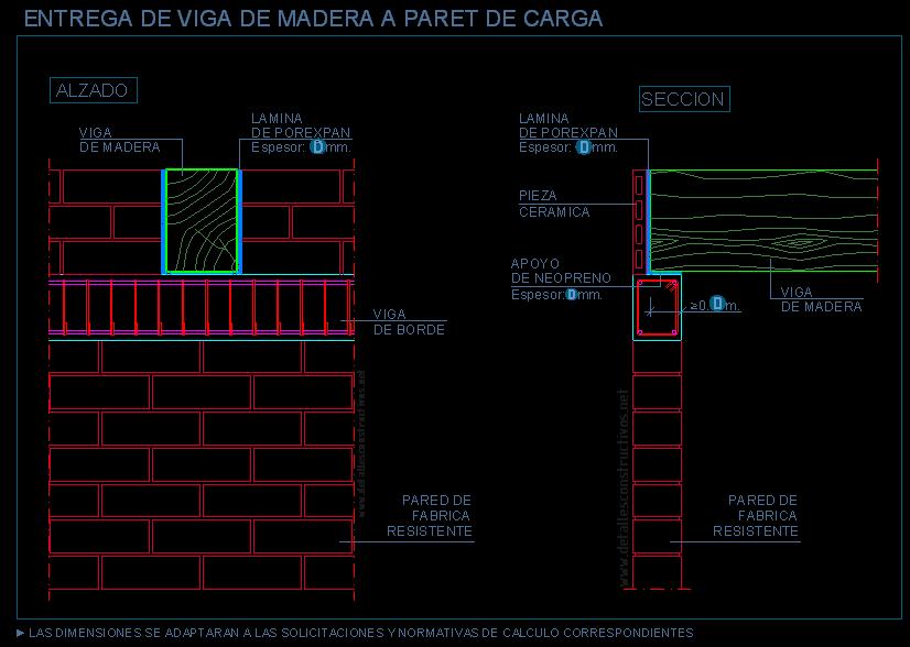 apoyo de viga de madera en pared de carga